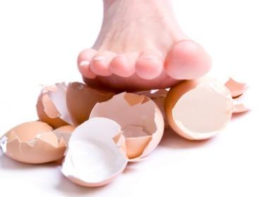 Stepped on eggshells